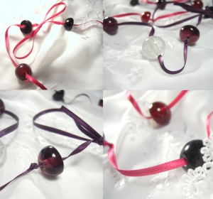 Ribbon necklaces with rounds and half rounds